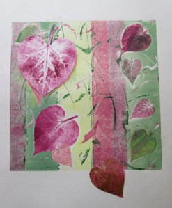 Pastel Morning Glory II Last leaves of my summer morning glory vines Inked brayer over lace creates a nuance 10x10 $55